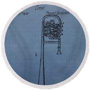 1858 Trumpet Patent Round Beach Towel