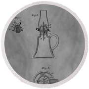 1861 Oil Lamp Patent Round Beach Towel