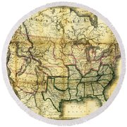 1861 United States Map Round Beach Towel