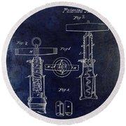 1862 Corkscrew Patent Drawing Round Beach Towel