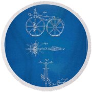 1866 Velocipede Bicycle Patent Blueprint Round Beach Towel