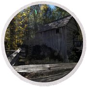 1868 Cable Mill At Cades Cove Tennessee Round Beach Towel