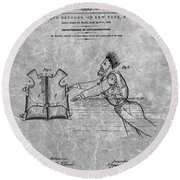 1869 Life Preserver Patent Charcoal Round Beach Towel