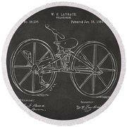 1869 Velocipede Bicycle Patent Artwork - Gray Round Beach Towel by Nikki Marie Smith