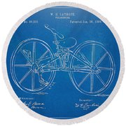 1869 Velocipede Bicycle Patent Blueprint Round Beach Towel