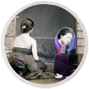 1870 Japanese Woman In Her Dressing Room Round Beach Towel