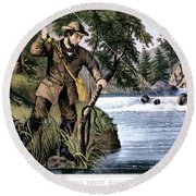 1870s Brook Trout Fishing - Currier & Round Beach Towel