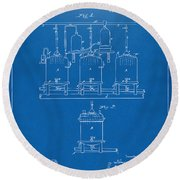 1873 Brewing Beer And Ale Patent Artwork - Blueprint Round Beach Towel