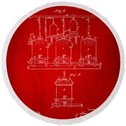 1873 Brewing Beer And Ale Patent Artwork - Red Round Beach Towel