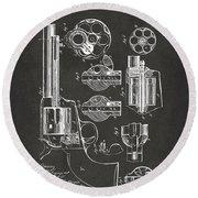 1875 Colt Peacemaker Revolver Patent Artwork - Gray Round Beach Towel