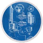 1875 Colt Peacemaker Revolver Patent Blueprint Round Beach Towel