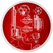 1875 Colt Peacemaker Revolver Patent Red Round Beach Towel