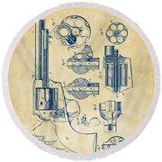 1875 Colt Peacemaker Revolver Patent Vintage Round Beach Towel