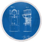 1876 Beer Keg Cooler Patent Artwork Blueprint Round Beach Towel