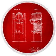 1876 Beer Keg Cooler Patent Artwork Red Round Beach Towel