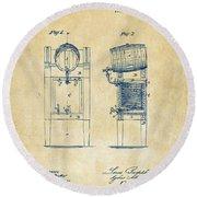 1876 Beer Keg Cooler Patent Artwork - Vintage Round Beach Towel
