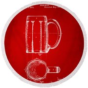1876 Beer Mug Patent Artwork - Red Round Beach Towel