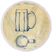 1876 Beer Mug Patent Artwork - Vintage Round Beach Towel