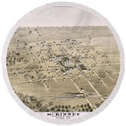 1876 Birds Eye Map Of Mckinney Texas Round Beach Towel