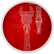 1878 Adjustable Wrench Patent Artwork - Red Round Beach Towel