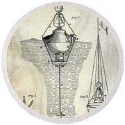 1878 Buoy Patent Drawing Round Beach Towel