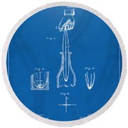 1878 Cork Extractor Patent Artwork - Blueprint Round Beach Towel