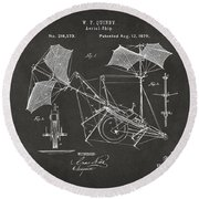 1879 Quinby Aerial Ship Patent - Gray Round Beach Towel by Nikki Marie Smith