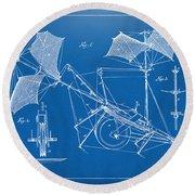 1879 Quinby Aerial Ship Patent Minimal - Blueprint Round Beach Towel