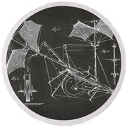 1879 Quinby Aerial Ship Patent Minimal - Gray Round Beach Towel by Nikki Marie Smith