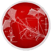 1879 Quinby Aerial Ship Patent Minimal - Red Round Beach Towel by Nikki Marie Smith