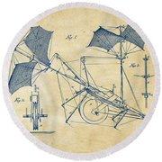 1879 Quinby Aerial Ship Patent Minimal - Vintage Round Beach Towel