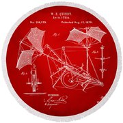 1879 Quinby Aerial Ship Patent - Red Round Beach Towel