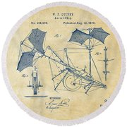 1879 Quinby Aerial Ship Patent - Vintage Round Beach Towel by Nikki Marie Smith