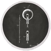 1880 Edison Electric Lamp Patent Artwork - Gray Round Beach Towel
