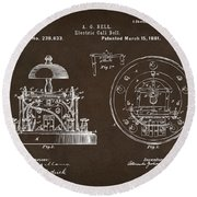 1881 Alexander Graham Bell Electric Call Bell Patent Espresso Round Beach Towel
