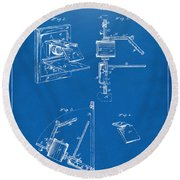 1881 Taylor Camera Obscura Patent Blueprint Round Beach Towel