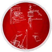 1881 Taylor Camera Obscura Patent Red Round Beach Towel