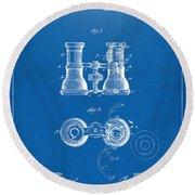 1882 Opera Glass Patent Artwork - Blueprint Round Beach Towel