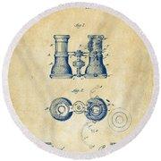 1882 Opera Glass Patent Artwork - Vintage Round Beach Towel