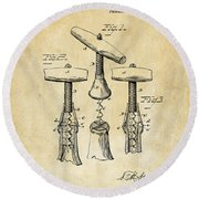 1883 Wine Corckscrew Patent Art - Vintage Black Round Beach Towel
