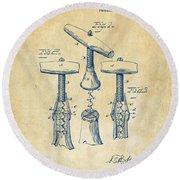 1883 Wine Corckscrew Patent Artwork - Vintage Round Beach Towel