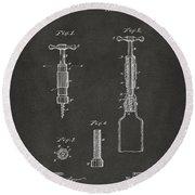 1884 Corkscrew Patent Artwork - Gray Round Beach Towel
