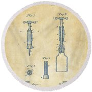 1884 Corkscrew Patent Artwork - Vintage Round Beach Towel