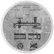 1885 Beer Tap Patent Charcoal Round Beach Towel