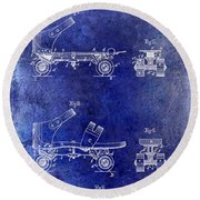 1885 Roller Skate Patent Drawing Blue Round Beach Towel