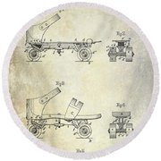 1885 Roller Skate Patent Drawing Round Beach Towel