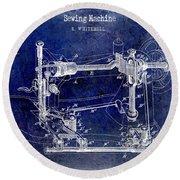 1885 Sewing Machine Patent Drawing Blue Round Beach Towel