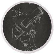 1886 Microscope Patent Artwork - Gray Round Beach Towel