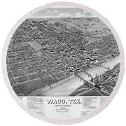 1886 Vintage Map Of Waco Texas Round Beach Towel