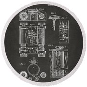 1889 First Computer Patent Gray Round Beach Towel